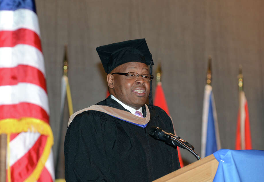 Wiley Mullins, founder and president of Uncle Wiley's Specialty Foods, Inc., speaks to the graduating class during the twenty-first annual commencement ceremony of St. Vincent's College at the Arnold Bernhard Center at the University of Bridgeport campus on Friday, May 17, 2013. Photo: Amy Mortensen / Connecticut Post Freelance