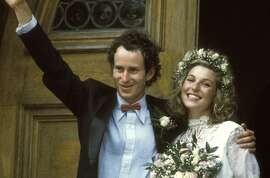 Tennis star John McEnroe and actress wife Tatum O'Neal after their wedding in 1986. They divorced in 1994.