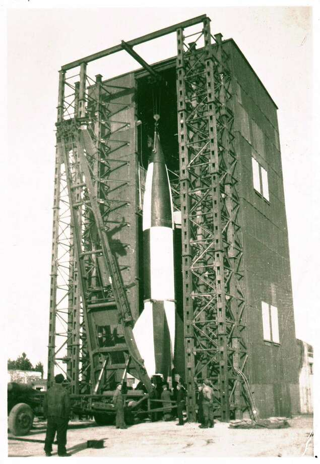 A V-2 rocket is shown at Cuxhaven, Germany during World War II. Photo: Science & Society Picture Librar, SSPL Via Getty Images / Please read our licence terms. All digital images must be destroyed unless otherwise agreed in writing.