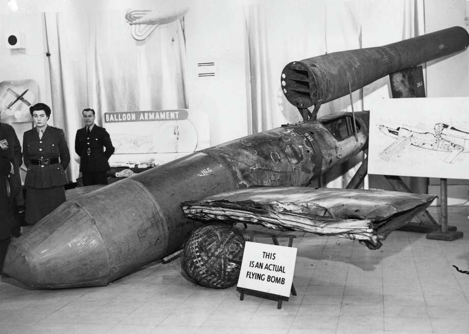 """The V-2 followed up on the V-1 the Fieseler Fi 103 V-1, which was the first rocket-powered missile used in war, and a precursor to modern cruise missiles. The distinctive sound of its simple pulse jet engine earned the V-1 the nicknames """"buzzbomb"""" and """"doodlebug."""" Photo: A. R. Coster, Getty Images / Hulton Archive"""