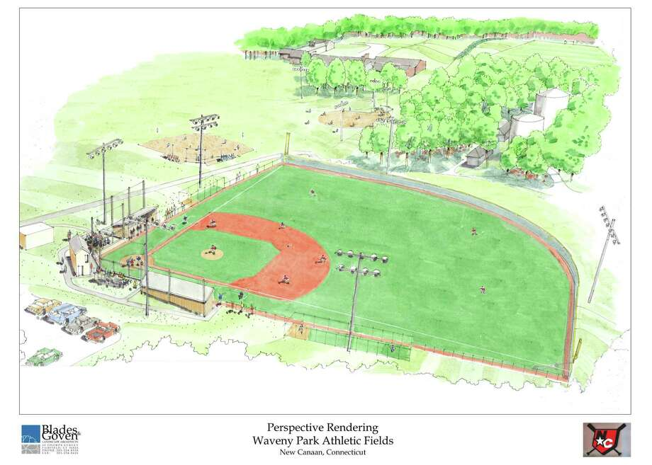 A perspective rendering of the proposed improvements to the Waveny Park athletic fields. The plans were approved by the BOS May 14 and the Town Council May 15. Photo: Contributed