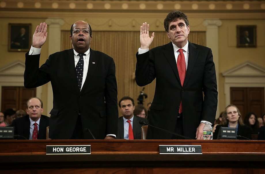 Treasury inspector general J. Russell George (left), with fired IRS acting head Steven Miller, told key officials about an audit of IRS activities in June. Photo: Alex Wong, Getty Images