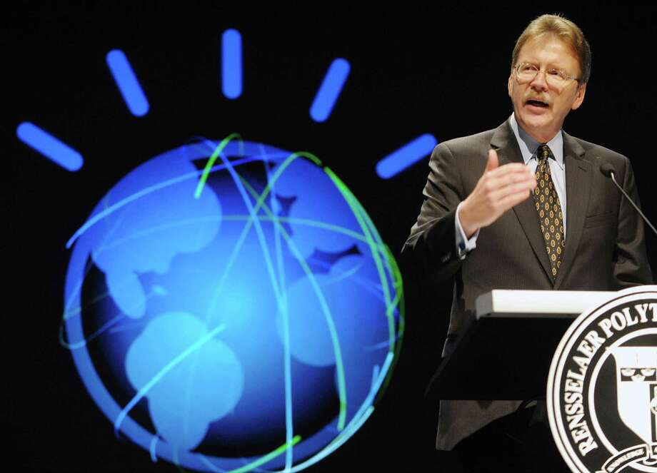 John Kelly III, senior vice president and director of IBM Research, addresses those gathered during an event at RPI on Wednesday, Jan. 30, 2013 in Troy, NY.  The event was held for IBM and RPI to announce that IBM will provide a modified version of the IBM Watson system to the college for use by students and faculty.   (Paul Buckowski / Times Union) Photo: Paul Buckowski / 00020965A