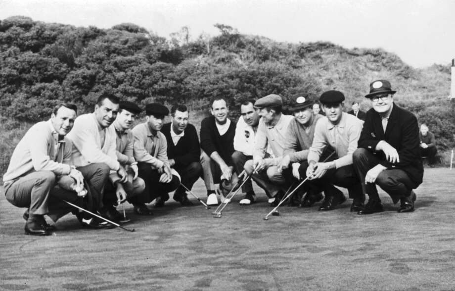 The American Ryder Cup team in Scotland, 6th October 1965. From right to left, they are team captain Byron Nelson, Tommy Jacobs, Billy Casper, Don January, Johnny Pott, Tony Lema, Ken Venturi, Dave Marr, Gene Littler, Julius Boros and Arnold Palmer.