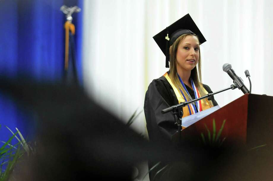 Graduate Sarah Puffer addresses her classmates during college commencement on Friday, May 17, 2013, at Fulton-Montgomery Community College in Johnstown, N.Y. (Cindy Schultz / Times Union) Photo: Cindy Schultz / 10022126A
