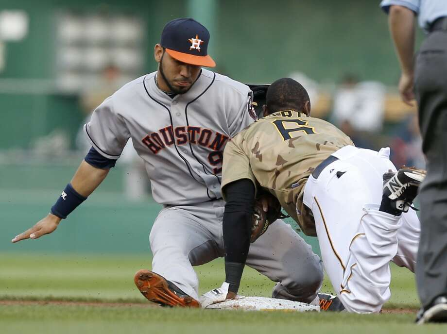 Starling Marte of the Pirates runs into Astros shortstop Marwin Gonzalez after being callled out stealing second base in the first inning.