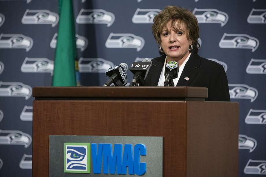 Senator Tracey Eide addresses onlookers and media at the unveiling event of new Washington state Seahawks and Sounders FC themed license plates Friday, May 17, 2013, at the Virginia Mason Athletic Center in Renton. The new plates will be available for purchase on Jan. 1, 2014.  Photo: JORDAN STEAD, SEATTLEPI.COM