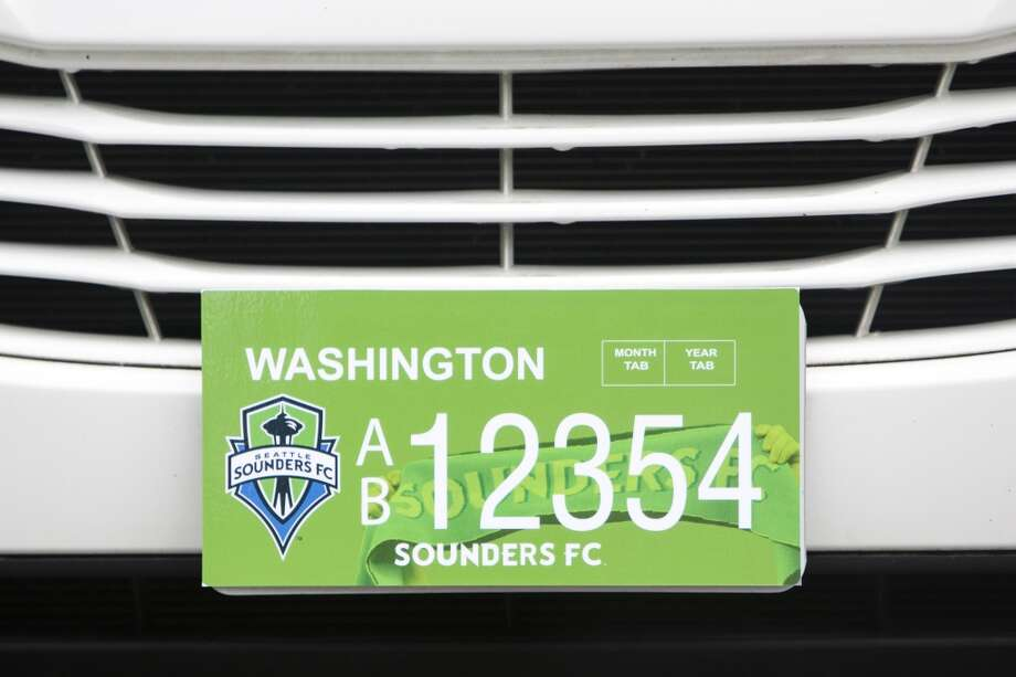 A view of the new Washington state Sounders FC license plate Friday, May 17, 2013, at the Virginia Mason Athletic Center in Renton. The new plates will be available for purchase on Jan. 1, 2014.  Photo: JORDAN STEAD, SEATTLEPI.COM