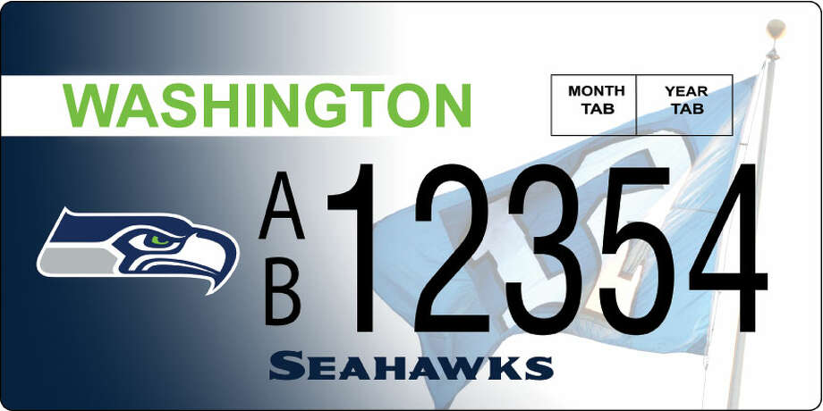 This rendering shows the preliminary design for the new Seahawks license plate.  Photo: Courtesy Image, Washington DOL
