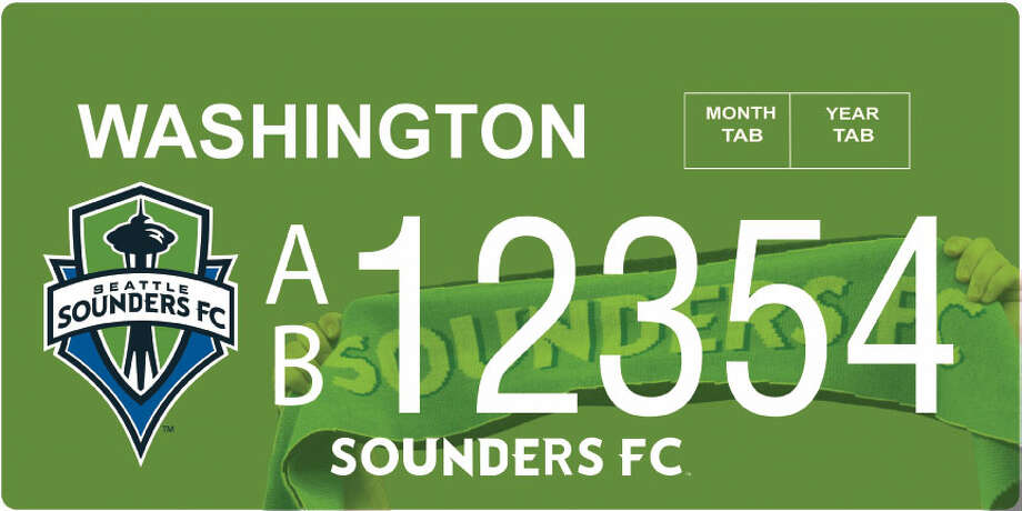 This rendering shows the preliminary design for the new Sounders FC license plate.  Photo: Courtesy Image, Washington DOL