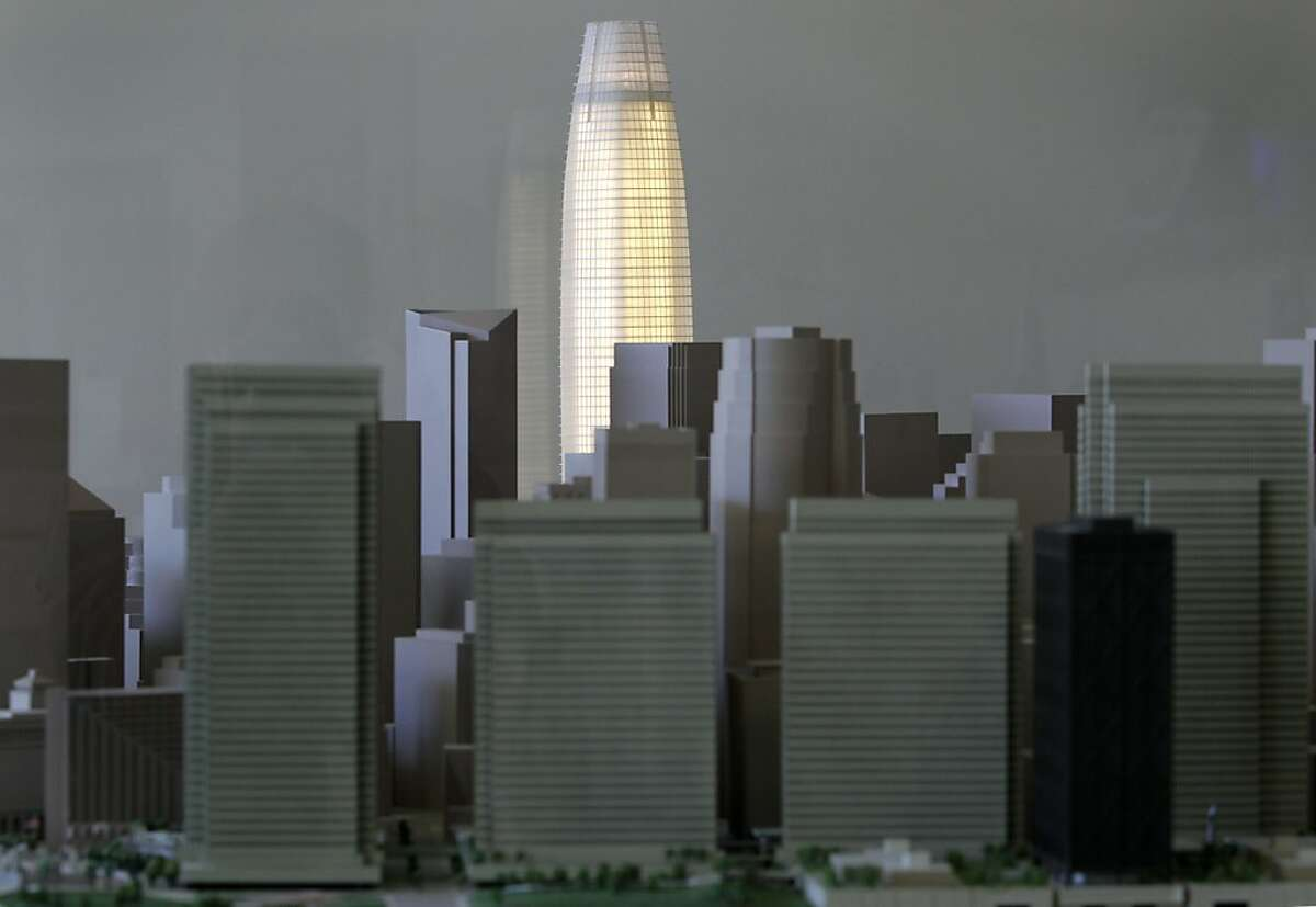 The grand vision of Transbay Tower is illuminated inside a display case at the Embarcadero Center.
