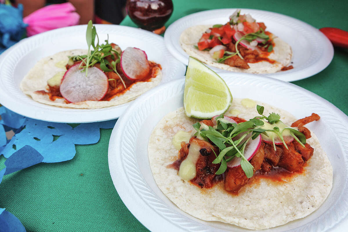 Chef Paco Isordia's Seafood a la Talla tacos served during the Best of Mexico event on Main Street at The Shops at La Cantera on Friday, May 17, 2013. The event was presented with the Culianria wine and food festival and showcased interior Mexican cuisine and higher-end drinks. MARVIN PFEIFFER/ mpfeiffer@express-news.net