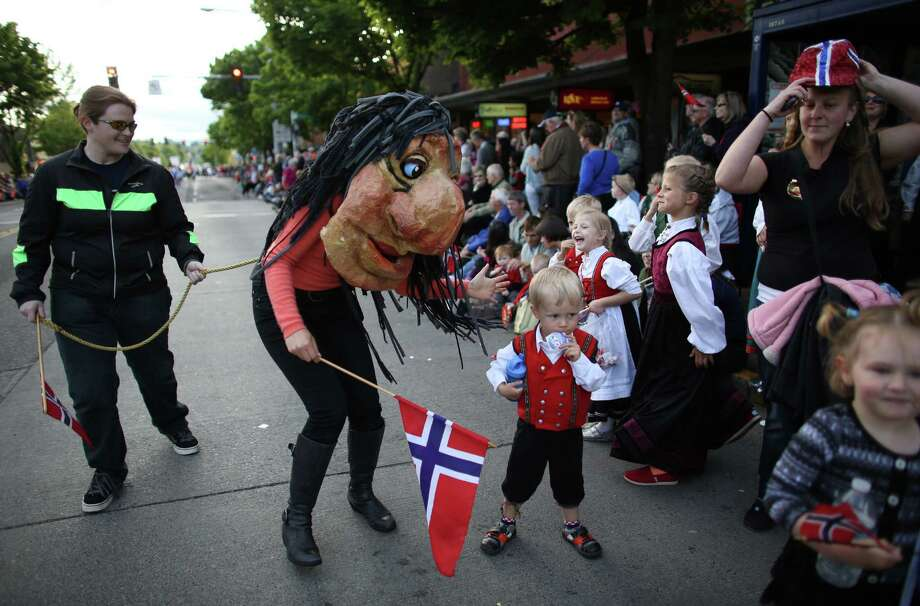 Spectators are greeted by a troll during Ballard's annual Syttende Mai parade. The parade celebrates Norwegian Constitution Day and is one of the largest celebrations outside of Oslo. Photographed on Friday, May 17, 2013. Photo: JOSHUA TRUJILLO / SEATTLEPI.COM