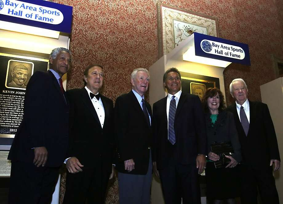 (Left to right ) Gene Washington, Tom Flores, Ken Venturi, Jim Plunkett, Donna Archer and Tom Martz posing for a portrait  before the Bay Area Sports Hall of Fame 2012 banquet in San Francisco, Ca on Tuesday, March 13, 2012. Photo: Siana Hristova, The Chronicle