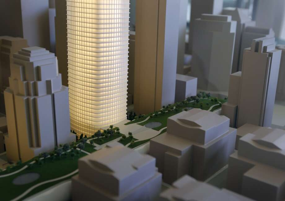 An architect's model of the Transbay Tower is illuminated inside a display case at the Embarcadero Center in San Francisco, Calif. on Friday, May 17, 2013.