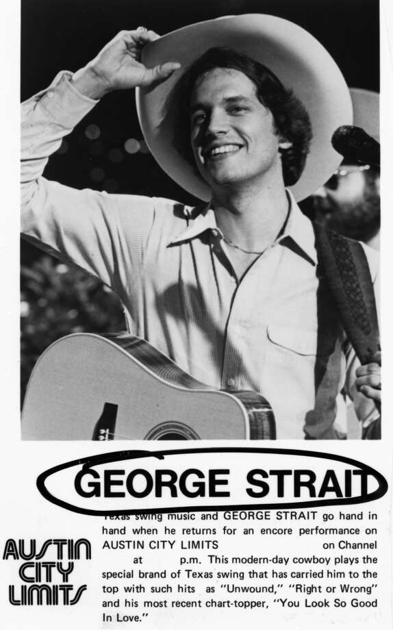 "PHOTO DATED 1984 BUT COULD BE EARLIER.    GEORGE STRAIT.  Texas swing music and GEORGE STRAIT go hand in hand when he returns for an encore performance on ``AUSTIN CITY LIMITS.''  This modern-day cowboy plays the special brand of Texas swing that has carried him to the top with such hits as ""Unwound,"" ""Right or Wrong"" and his most recent chart-topper, ""You Look So Good In Love.""     HOUCHRON CAPTION (02/10/2002):  George Strait, seen here on March 20, 1984, has been a traditional favorite of rodeo crowds, setting concert-attendance records through the mid-'90s."
