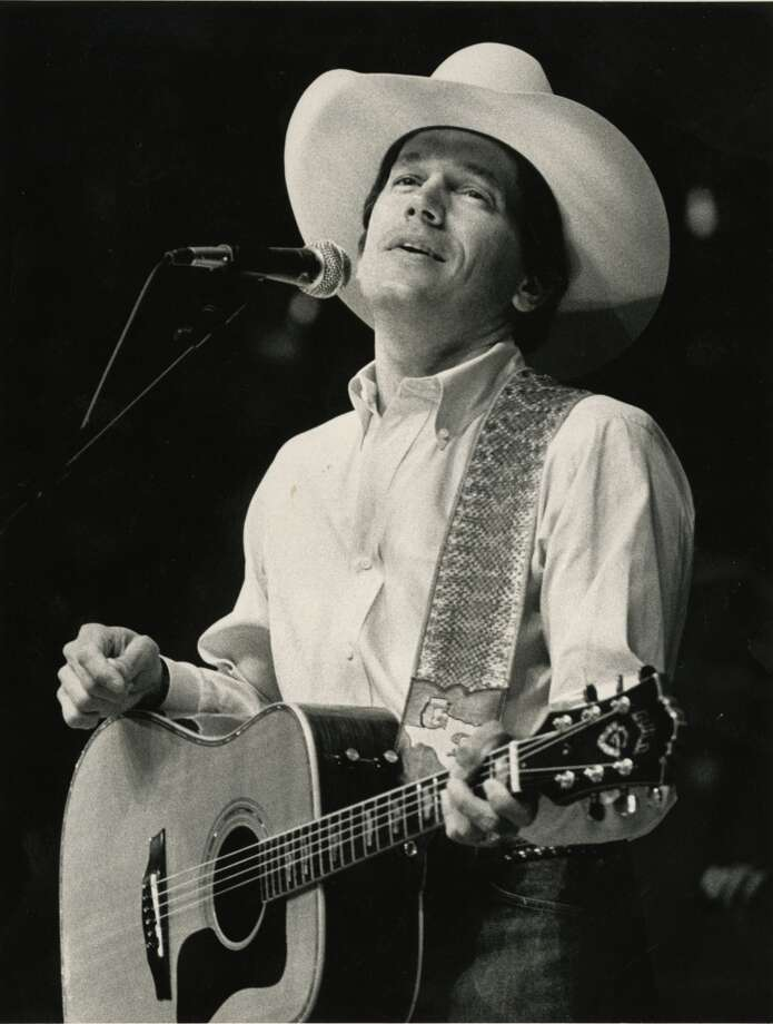 02/22/1988 - singer George Strait performs at the Houston Livestock Show & Rodeo in the Houston Astrodome.