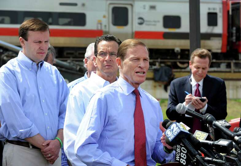 Senator Dick Blumenthal addresses the media at a press conference near the scene of Friday evening's