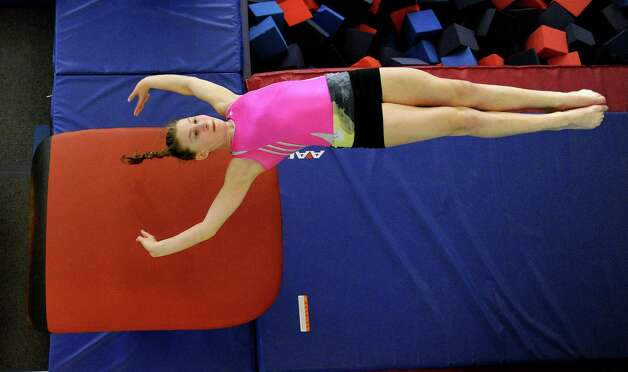 Emily Gruen practices on the vault at Chelsea Piers Connecticut on February 21, 2013. Photo: Lindsay Perry / Stamford Advocate