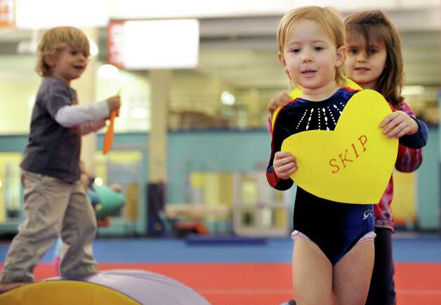 Madison Fernandez practices gymnastics at CP Kids Early Learning Center at Chelsea Piers Connecticut on February 6, 2013. Photo: Lindsay Perry / Stamford Advocate