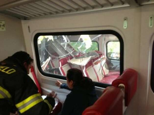 The above photo was taken inside one of the trains that collided at the Bridgeport/Fairfield line Friday. Photos were taken by passenger Helen Dodson of Fairfield.