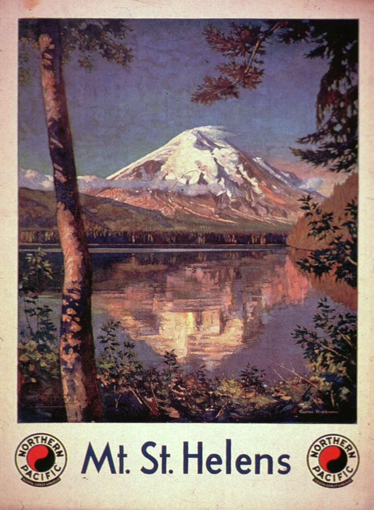 1929: The snow-capped peak of Mount St. Helens, an active volcano in the Cascade Range, Washington State. Original Artist: By Gustav Krollmann.