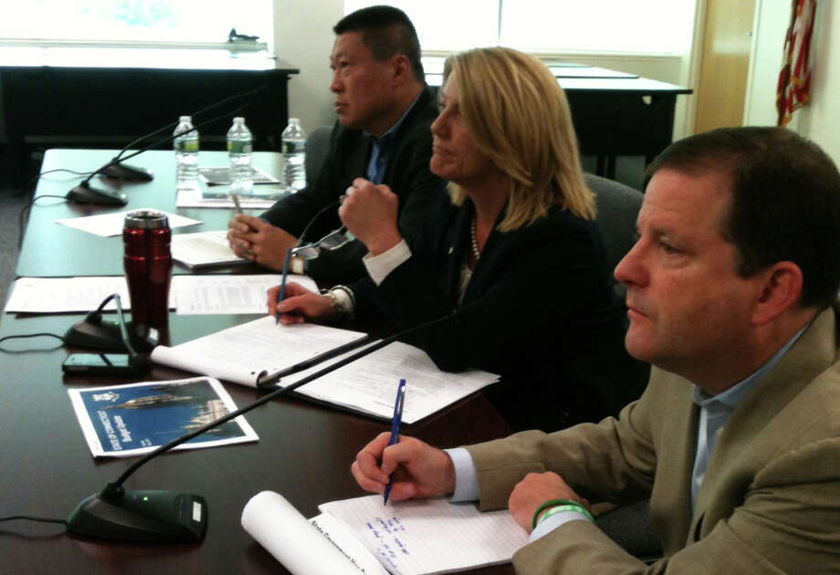 State Sen. John McKinney, foreground, with state Rep. Brenda Kupchick and state Rep. Tony Hwang, all Republican legislators who represent Fairfield, at a budget forum on Saturday in the Education Center on Kings Highway East. Photo: Andrew Brophy / Fairfield Citizen contributed