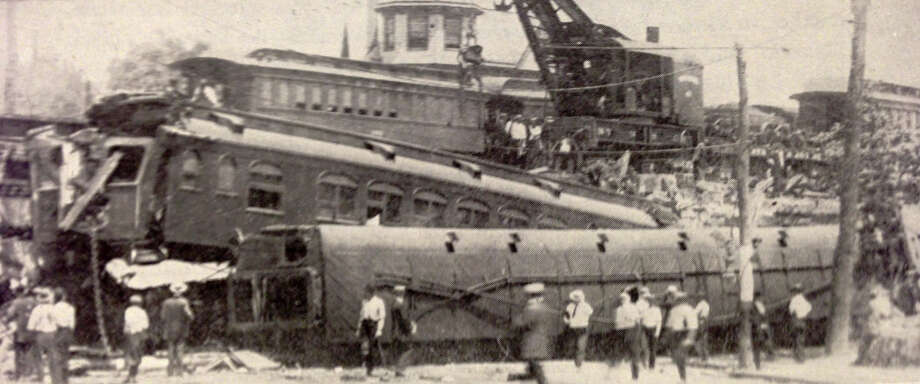"The Federal Express Wreck of 1911 occurred at Railroad Viaduct and Fairfield Avenue, not too far from the site of Friday's collision. Photo by Albert Borgman from the 1955 book ""History of Black Rock."" Photo: Contributed Photo"