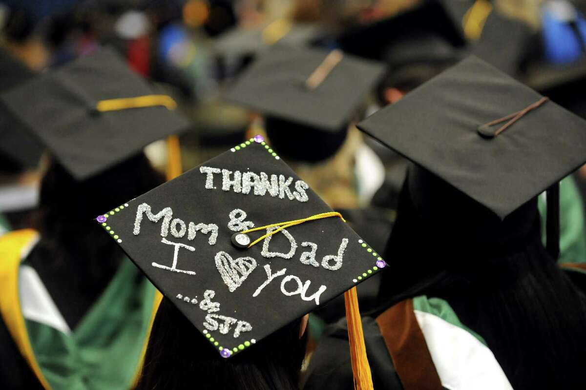 Graduate Alexa Pajak wears a mortar board with a special message during The Sage Colleges commencement on Saturday, May 18, 2013, at Rensselaer Polytechnic Institute in Troy, N.Y. (Cindy Schultz / Times Union)