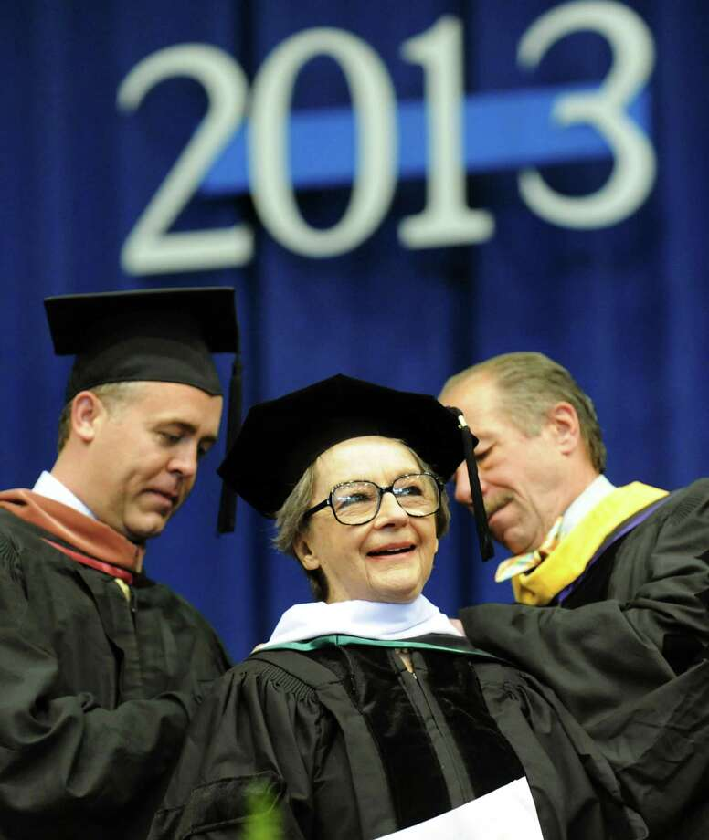 Stage and screen actress Zoe Caldwell, center, receives the honorary degree of Doctor of Arts and Letters during The Sage Colleges commencement on Saturday, May 18, 2013, at Rensselaer Polytechnic Institute in Troy, N.Y. (Cindy Schultz / Times Union) Photo: Cindy Schultz / 10022130A