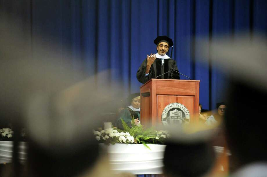 Hamdi Ulukaya, president, founder and CEO of Chobani, Inc. delivers the address during The Sage Colleges commencement on Saturday, May 18, 2013, at Rensselaer Polytechnic Institute in Troy, N.Y. (Cindy Schultz / Times Union) Photo: Cindy Schultz / 10022130A
