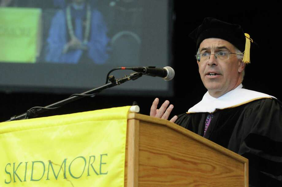 David Brooks speaks after being presented with an honorary Doctors of Letters degree during the Skidmore 102nd college commencement at SPAC on Saturday May 18, 2013 in Saratoga Springs, N.Y. (Michael P. Farrell/Times Union) Photo: Michael P. Farrell