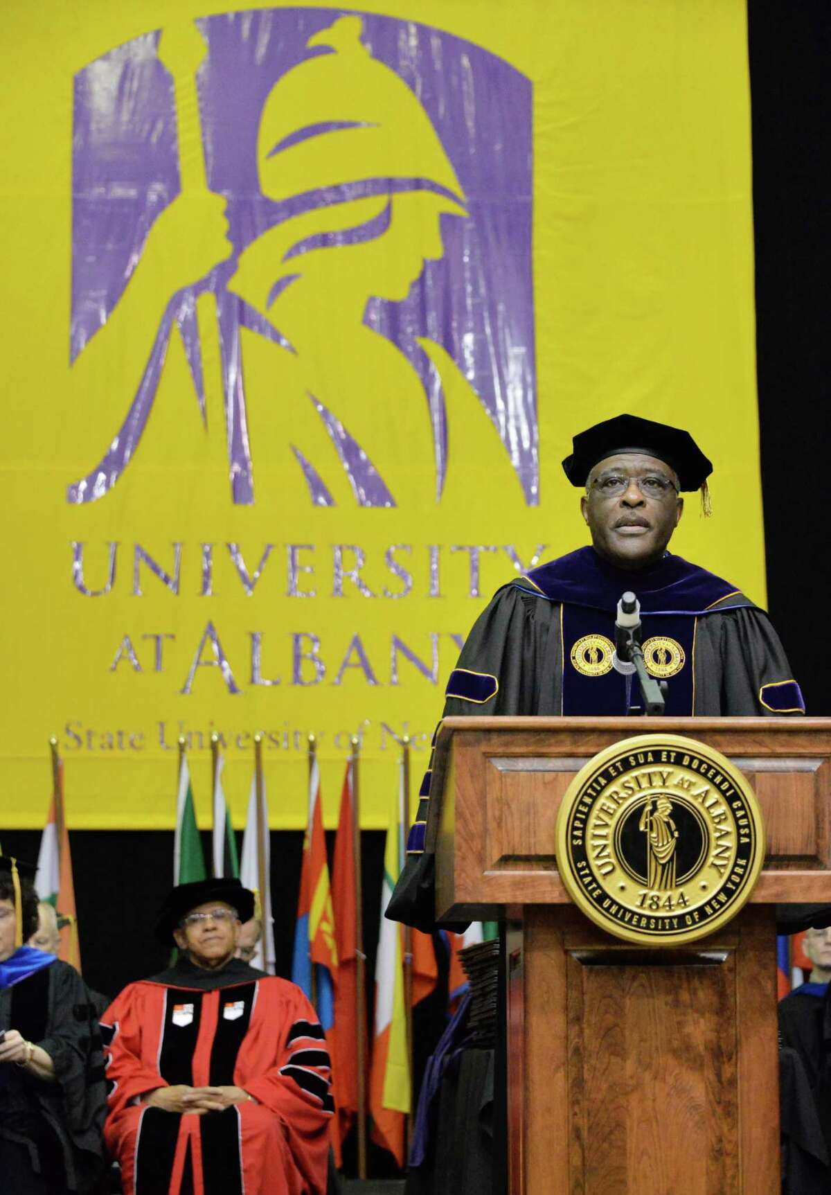 UAlbany president Robert J. Jones speaks during UAlbany Graduate college commencement ceremonies in Albany, NY Saturday May 18, 2013. (John Carl D'Annibale / Times Union)