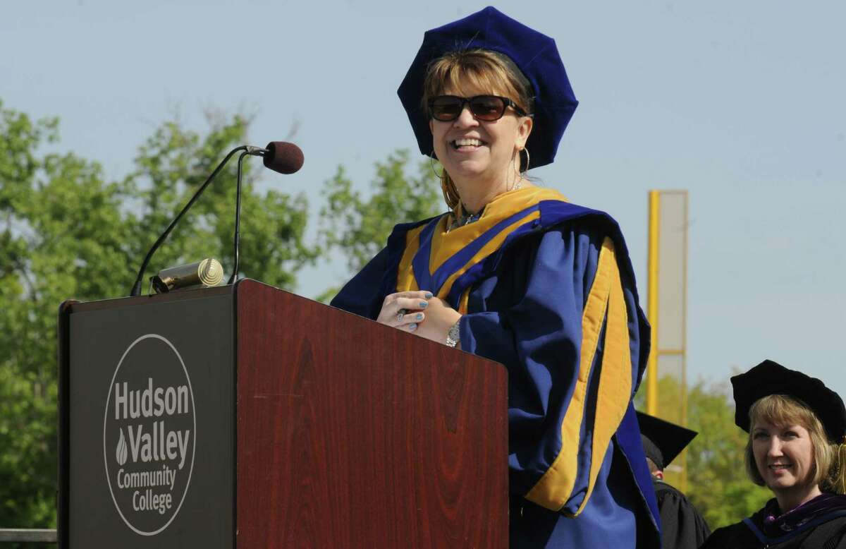Dr. Tina Good, member of the SUNY Board of Trustees and president of the Faculty Council of Community Colleges, gives the commencement address during the HVCC 56th annual college commencement on Saturday May 18, 2013 in Troy, N.Y. (Michael P. Farrell/Times Union)