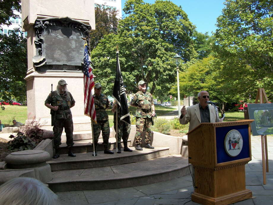 (MARY ROZAK) Joseph Pollicino, president of the Tri-County Council of Vietnam Era Veterans, launches a fund drive several months ago for repairs and upgrades of the Albany County Vietnam Veterans Monument in Lafayette Park in Albany.