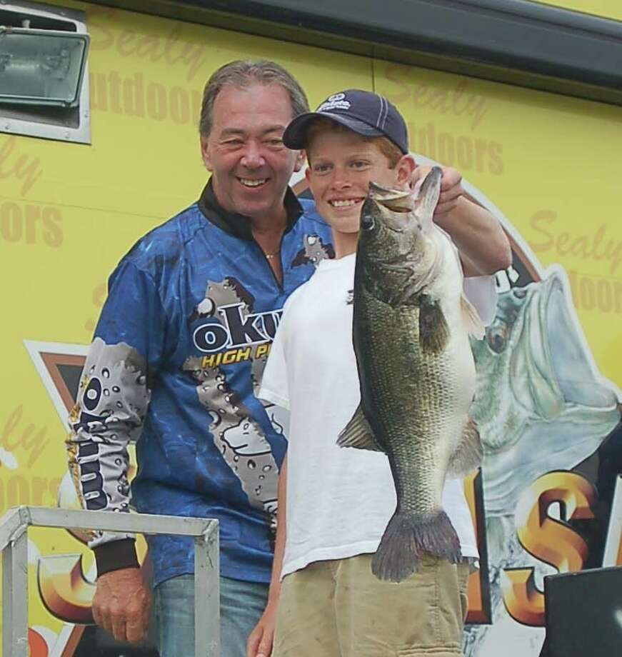 13 year old Cole Moore caught the biggesgt bass weighed in on day two.  It registgered atg 8.36 lbs putting him in 3rd place overall with one day to go  Photo by Patty Lenderman, Lakecaster