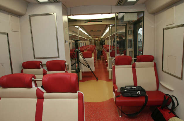 This is a view of the M-8 rail car interior during a test run on Monday, Nov. 15, 2010. The two cars that were involved in Friday's Metro-North collision in Bridgeport were M-8 models. Photo: B.K. Angeletti, ST / Connecticut Post
