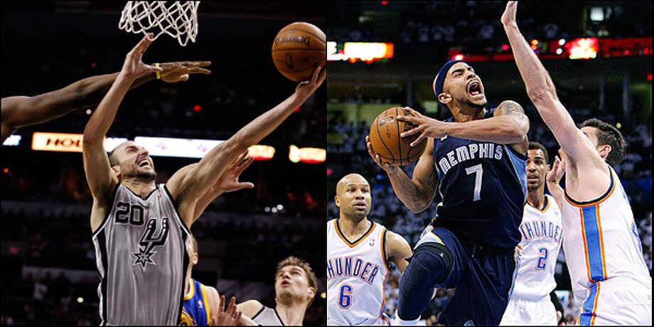 Bench: Spurs' Manu Ginobili vs. Grizzlies' Jerryd Bayless.  Edward A. Ornelas / San Antonio Express-News and Alonzo Adams / Associated Press / © 2013 San Antonio Express-News
