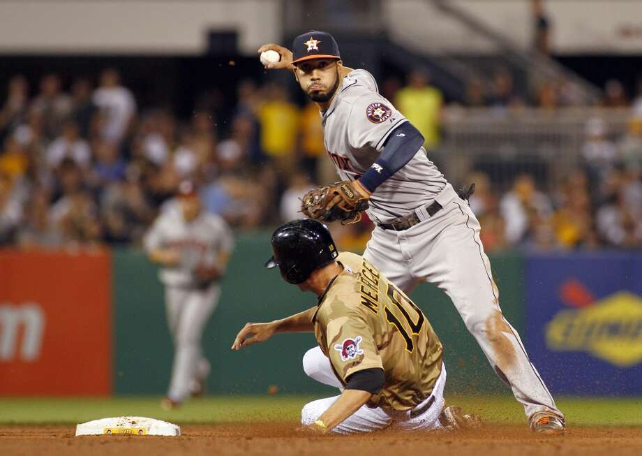 Marwin Gonzalez #9 of the Astros turns a double play.