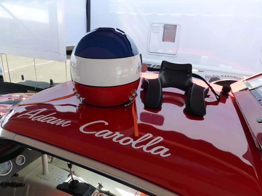 Adam Carolla's helmet, atop his Datsun race car.