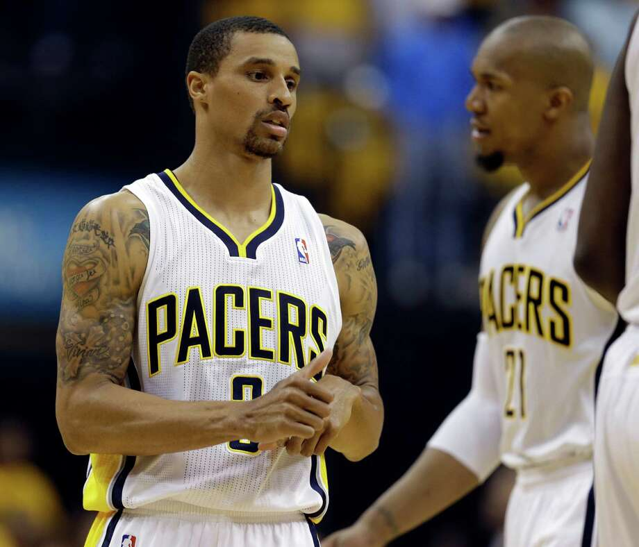 Indiana Pacers' George Hill gets ready for the start of Game 6 of an Eastern Conference semifinal NBA basketball playoff series against the New York Knicks Saturday, May 18, 2013, in Indianapolis. Photo: Darron Cummings
