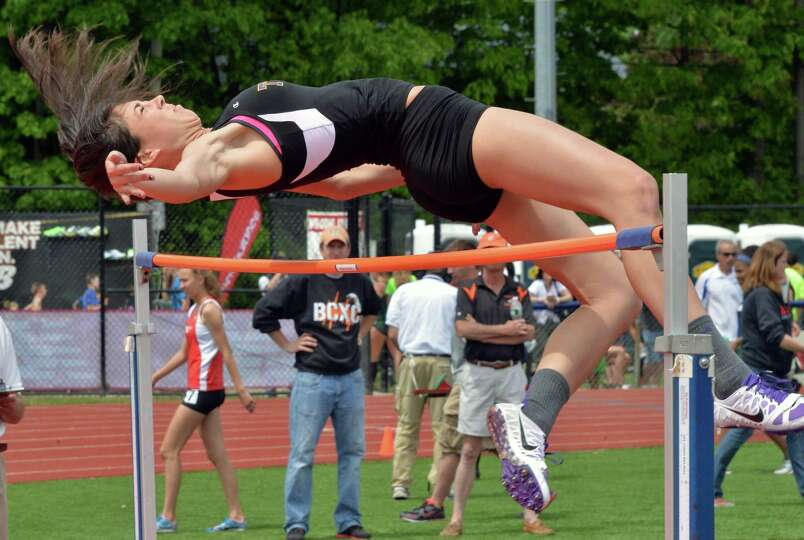 Troy's Courtney Avery competes in high jump during the annual high school track and field Eddy Meet
