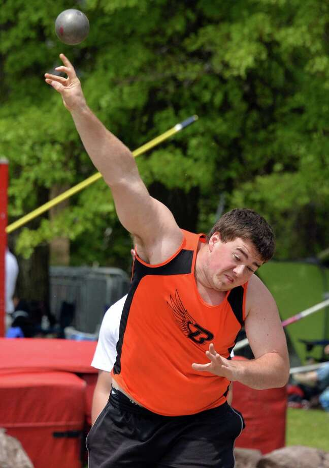 Bethlehem's Frank Erickson throw the shot put during the annual high school track and field Eddy Meet at Schenectady High School in Schenectady, NY Saturday May 18, 2013.  (John Carl D'Annibale / Times Union) Photo: John Carl D'Annibale / 00022412A