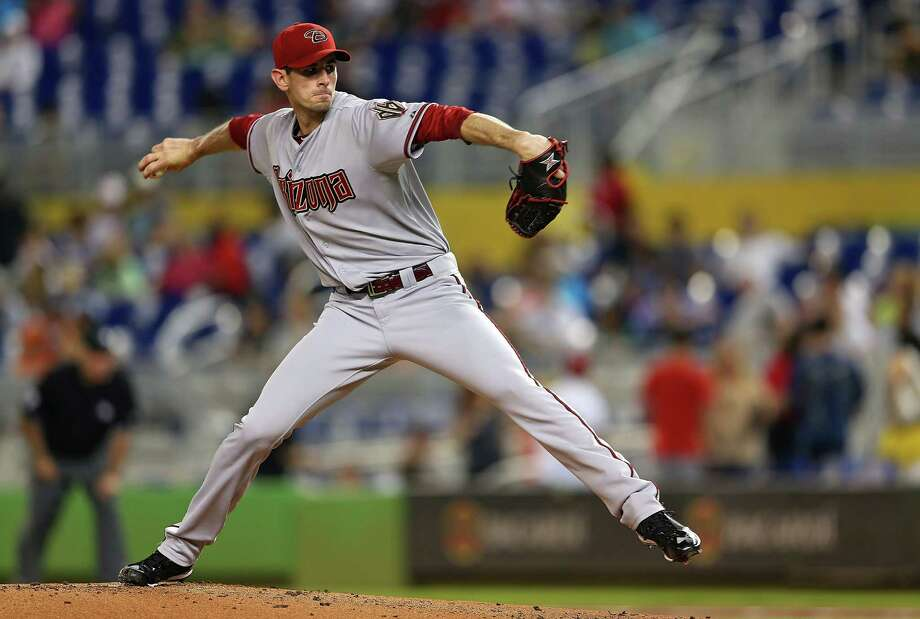 MIAMI, FL - MAY 18:  Brandon McCarthy #32 of the Arizona Diamondbacks pitches during a game against the Miami Marlins at Marlins Park on May 18, 2013 in Miami, Florida.  (Photo by Mike Ehrmann/Getty Images) Photo: Mike Ehrmann