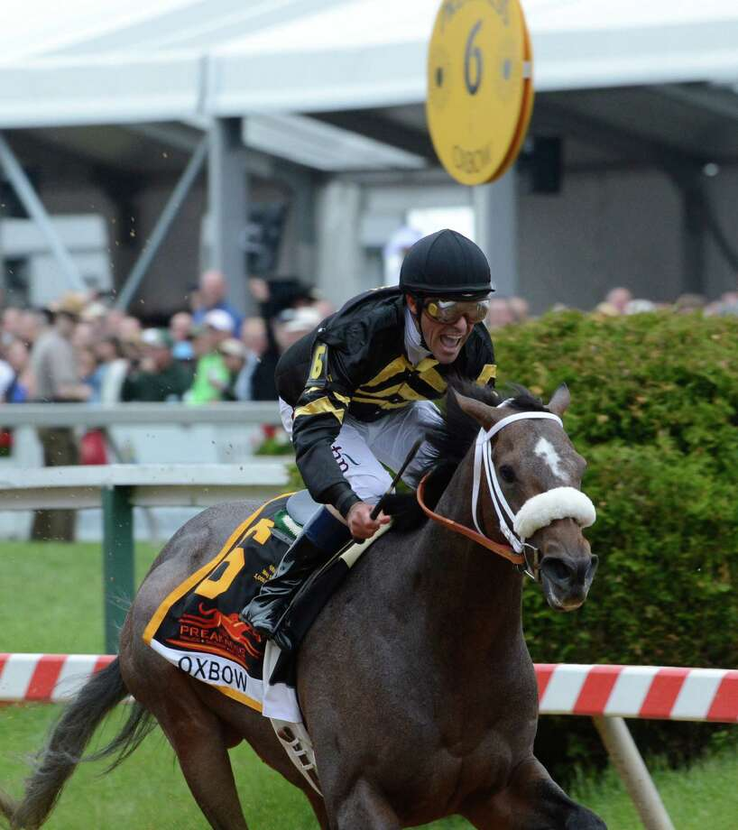 Oxbow ridden by veteran jockey Gary Stevens wins the 138th running of the Preakness Stakes May 18, 2013 at historic Pimlico Race Course in Baltimore, Maryland.  This was the second jewel of the thoroughbred racing's triple crown.  Kentucky Derby winner Orb finished fourth.   (Skip Dickstein/Times Union) Photo: SKIP DICKSTEIN