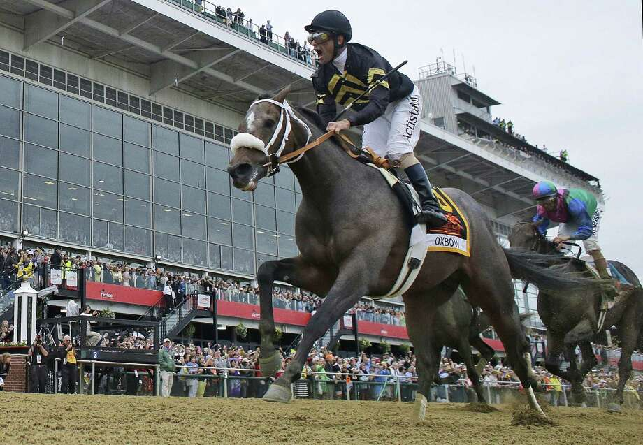 Hall of Fame jockey Gary Stevens, who ended his retirement in January, rode Oxbow to his third Preakness win. It also was trainer D. Wayne Lukas' record 14th Triple Crown race victory. Photo: Matt Slocum / Associated Press
