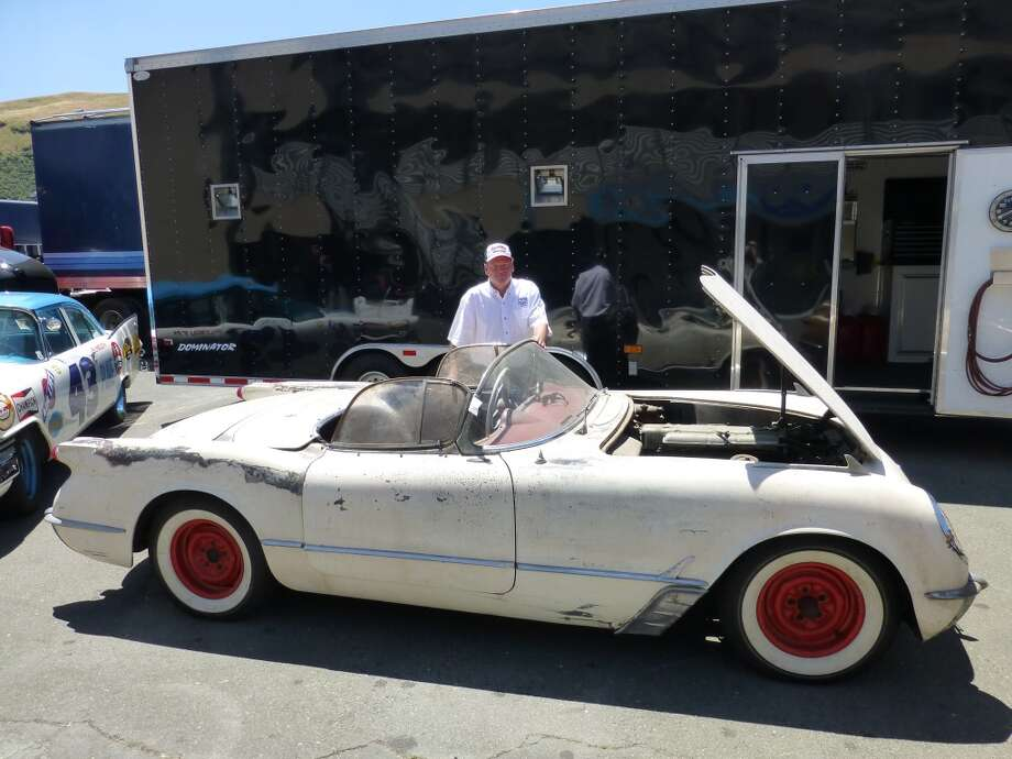 "Ron Myska and his 1954 Corvette that he plans to keep in roughly the shape it's in. It was an authentic ""barn find,"" although the barn was the parking area of a house in Pittsburg, Calif."