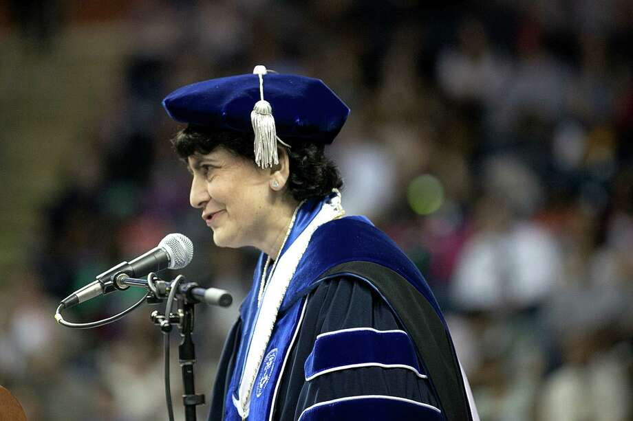 Mike Ross Connecticut Post freelance -Southern Connecticut State University President Mary A. Papazian addresses students during Friday morning commencement exercises at Webster Bank Arena. Photo: Mike Ross / Connecticut Post contributed