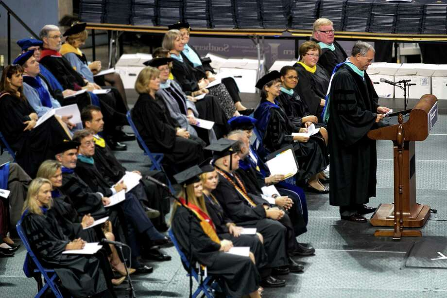Mike Ross Connecticut Post freelance -Mayor of New Haven John DeStefano address Southern Connecticut State University commencement excerises at Webster Bank Arena on Friday morning. Photo: Mike Ross / Connecticut Post contributed