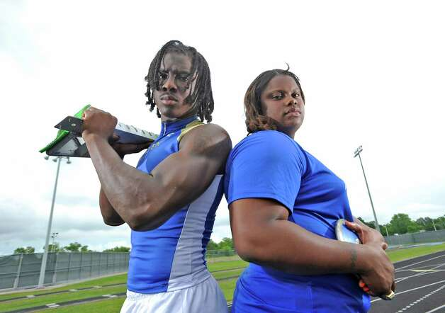 The 2013 Super Gold track and field MVPs are Tony Brown and Nekia Jones, both from Ozen High School.   Dave Ryan/The Enterprise Photo: Dave Ryan